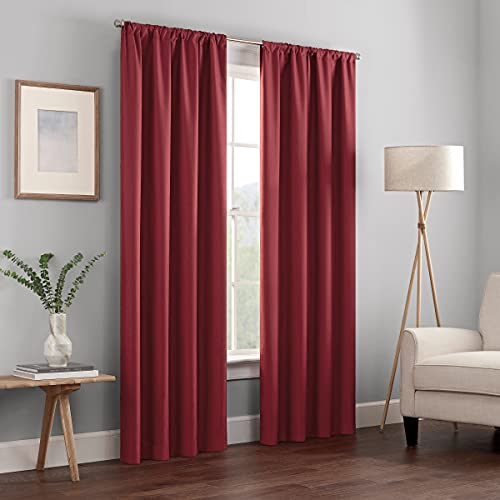 (Amazon) ECLIPSE Kendall Thermal Insulated Single Panel Rod Pocket Darkening Curtains for Living Room, 42″ x 95″, Ruby