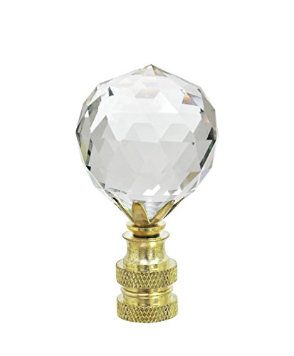 (Amazon) Aspen Creative 24007-11 Clear Faceted Crystal Lamp Finial in Brass Plated Finish, 2 1/4″ Tall (1 Pack)