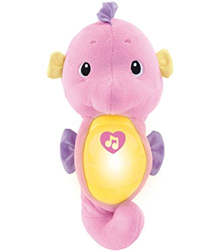 (Amazon) Fisher-Price Soothe & Glow Seahorse, pink, plush toy with music, ocean sounds and lights for baby