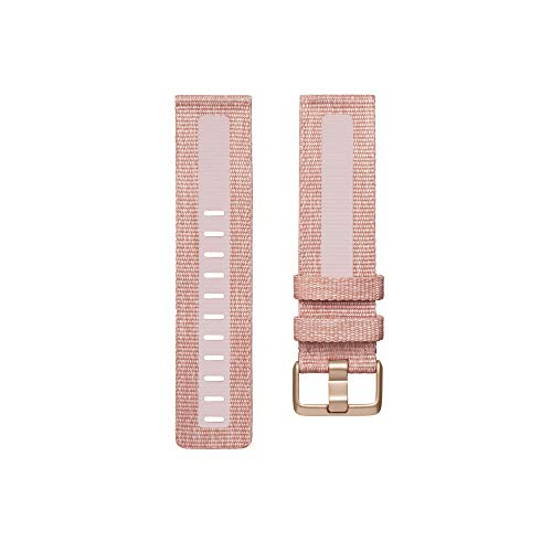 (Amazon) Fitbit Versa Family Accessory Band, Official Fitbit Product, Woven Reflective, Pink, Small