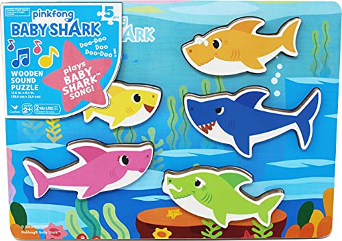 (Amazon) Pinkfong Baby Shark Chunky Wood Sound Puzzle – Plays Baby Shark Song