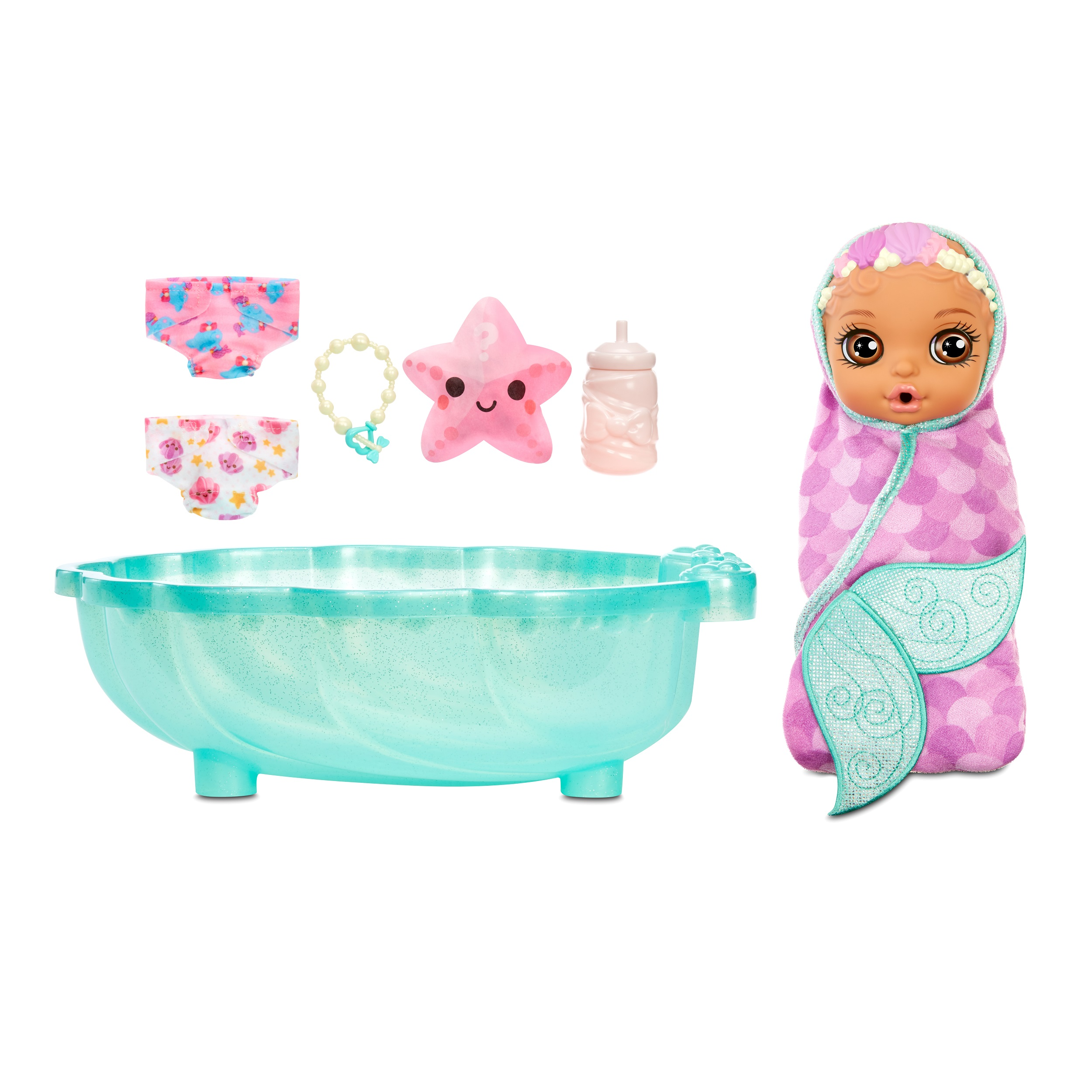 BABY born Surprise Mermaid Surprise – Baby Doll with Purple Towel and 20+ Surprises (Walmart)