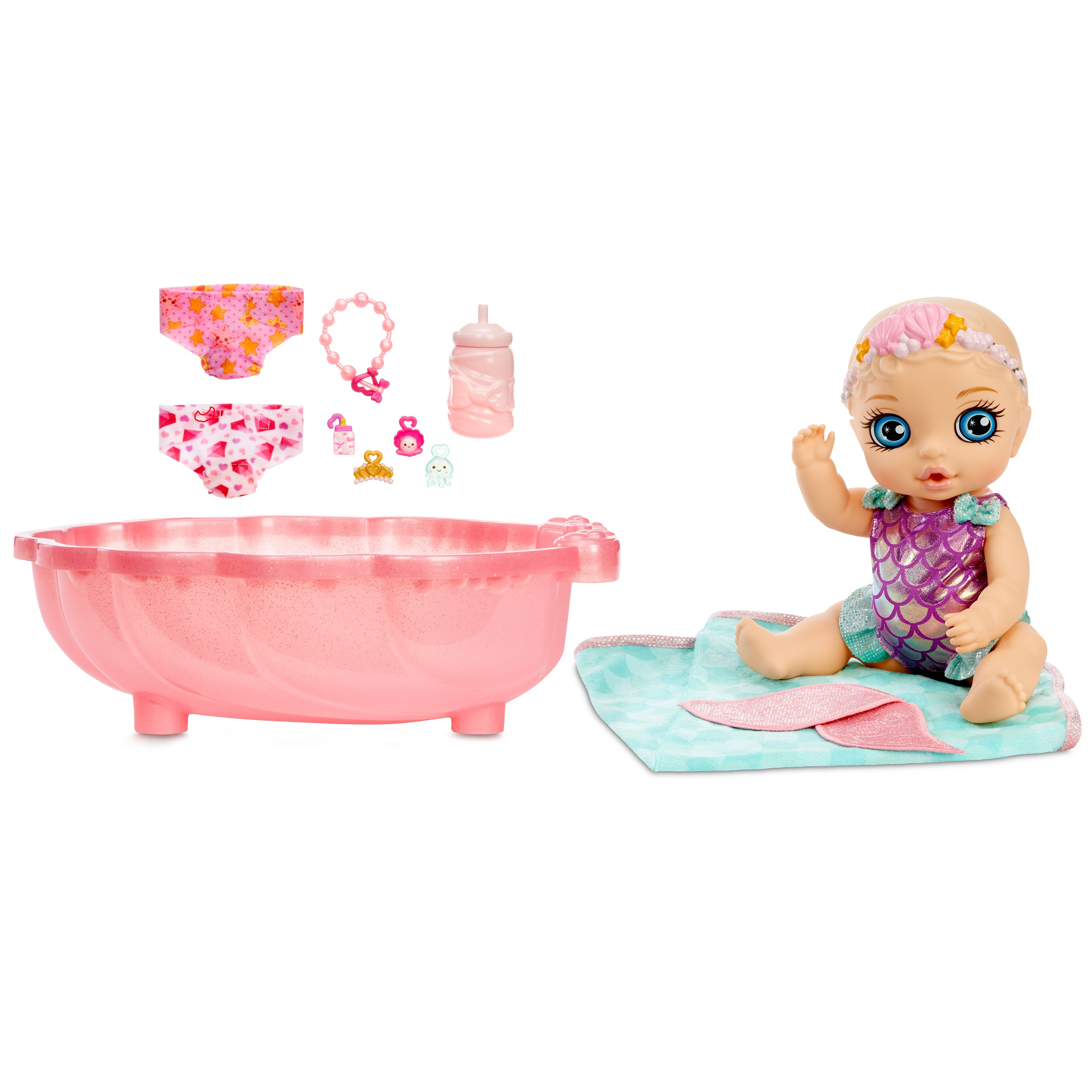 BABY born Surprise Mermaid Surprise – Baby Doll with Teal Towel and 20+ Surprises (Walmart)