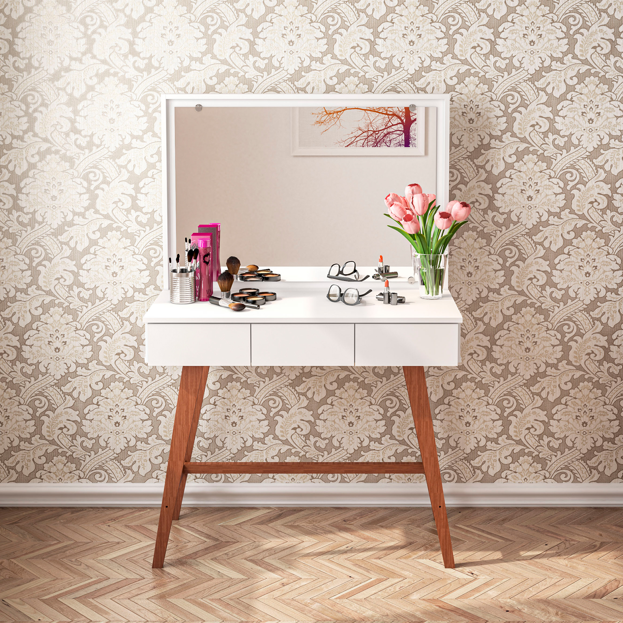 Boahaus Urban Modern Vanity Table with Mirror, 3 Drawers, and Solid Wood Legs, White Finish (Walmart)