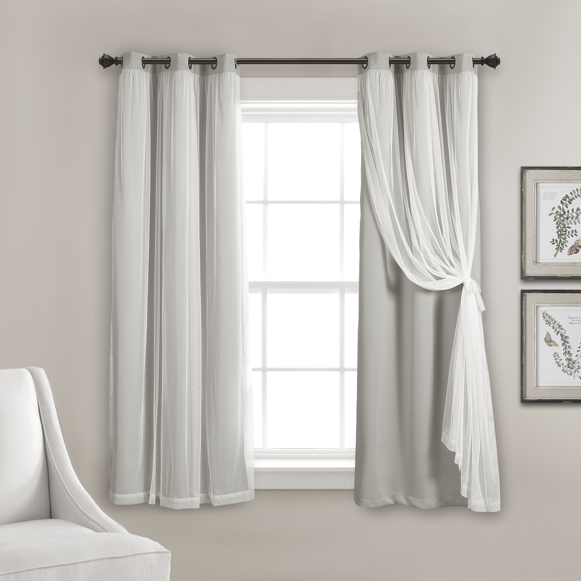 Lush Decor Grommet Sheer Window Curtain Panels With Insulated Blackout Lining Solid Color 100% Polyester, Light Gray, 63″L x 38″W, Set o f 2 (Walmart)
