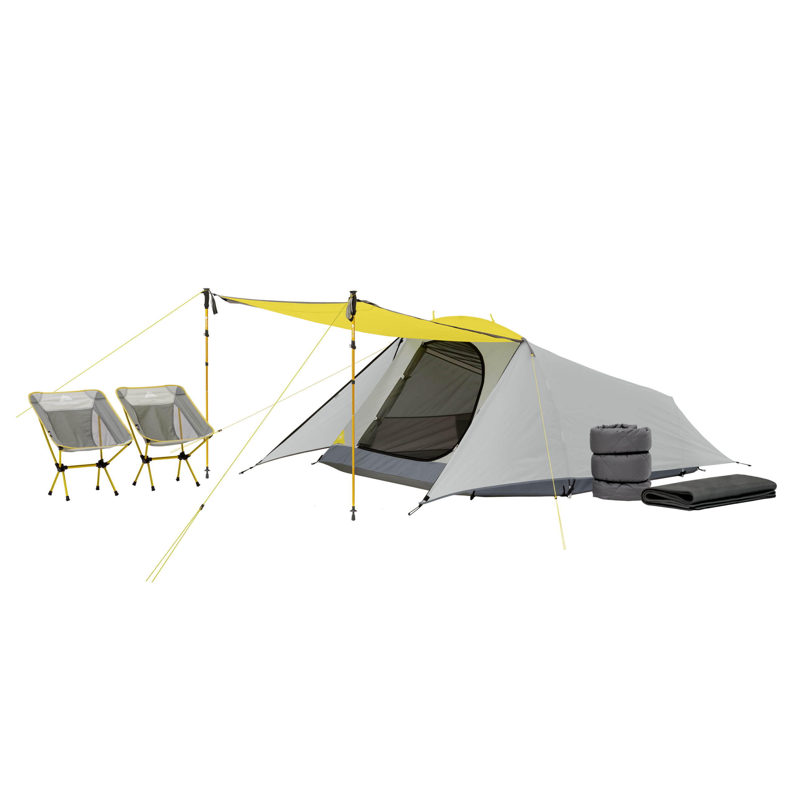 Ozark Trail 3-Person 16pc Camping Combo, Dome Tent with Rainfly, Trekking poles, Sleeping Bag, Sleeping Pad and Low-Back Chairs (Walmart)