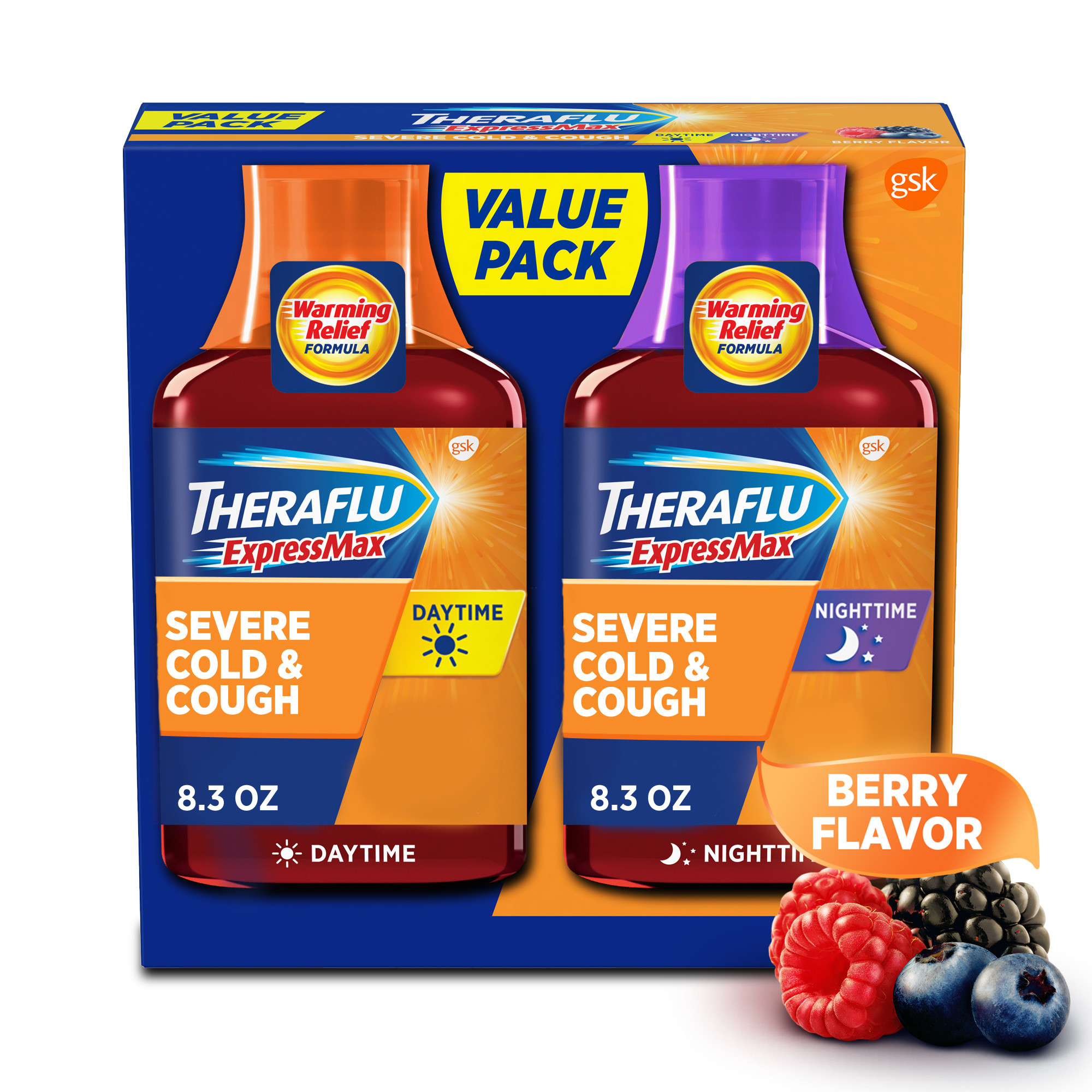 Theraflu Expressmax Day and Nighttime Severe Cold and Cough Syrup, 8.3 Oz., 2 Pack (Walmart)