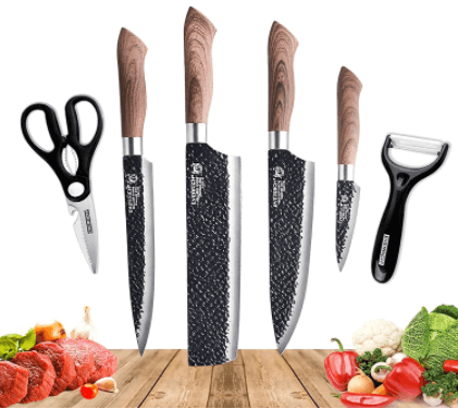 Amazon: 6 Pcs Stainless Steel Kitchen Knife Set with Peeler and Scissors for $17.09 (Reg. $37.99)