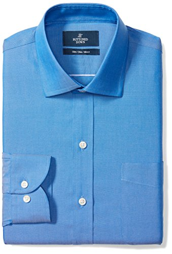 (Amazon) Amazon Brand – Buttoned Down Men's Slim-Fit Spread Collar Pinpoint Non-Iron Dress Shirt, French Blue, 15.5″ Neck 32″ Sleeve