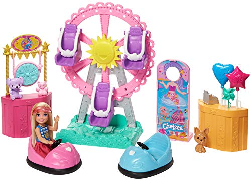 (Amazon) Barbie Club Chelsea Doll and Carnival Playset, 6-inch Blonde Wearing Fashion and Accessories, with Ferris Wheel, Bumper Cars, Puppy and More, Gift for 3 to 7 Year Olds