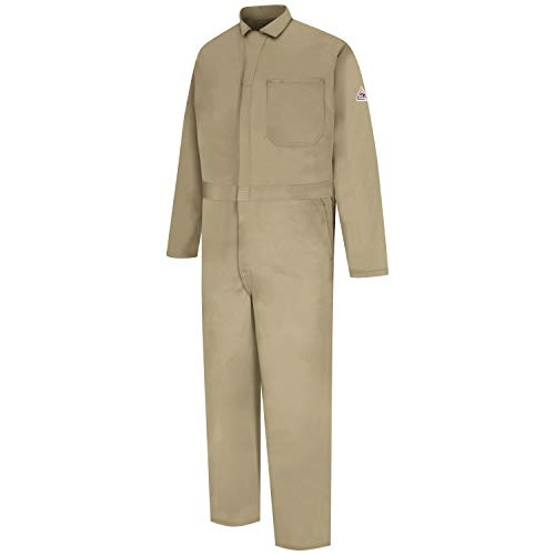 (Amazon) Bulwark Men's Tall Size Flame Resistant 9 oz Twill Cotton Classic Coverall with Hemmed Sleeves, Khaki, 56 Long
