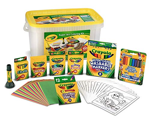 (Amazon) Crayola Super Art Coloring Kit, Tub Colors Vary, Amazon Exclusive, 100+ Pcs, Gift for Kids