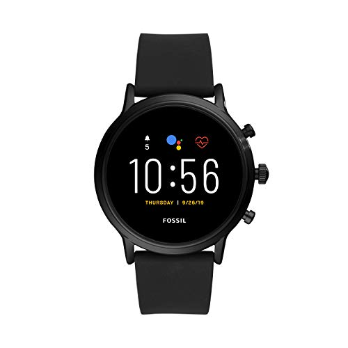 (Amazon) Fossil 44mm Gen 5 Carlyle Stainless and Silicone Touchscreen Smart Watch with Heart Rate, Color: Black (Model: FTW4025)