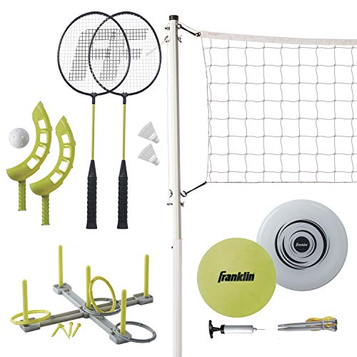 (Amazon) Franklin Sports Fun 5 Combo Set – Badminton, Volleyball with Pump, Ring Toss, Flip Toss, and Flying Disc