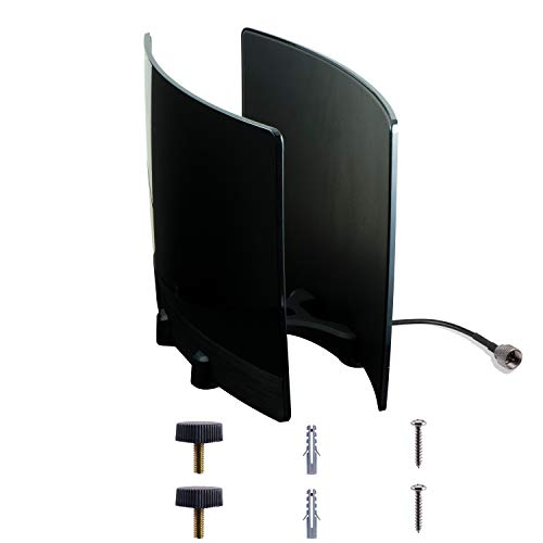 (Amazon) GE UltraPro Optima TV Antenna with Signal Enhancing Reflector Panel, Supports 4K 1080P VHF UHF HD Digital Long Range Antenna, Smart TV Compatible, includes 10ft Coaxial Cable, Black, 34137
