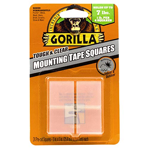 (Amazon) Gorilla Tough & Clear Double Sided Mounting Tape Squares, 24 1″ Pre-Cut Squares, Clear, (Pack of 1) – 6067201