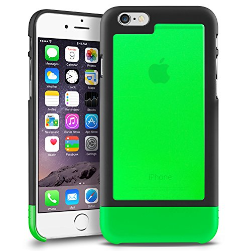 (Amazon) INSTEN TriTone Slim Hard Case Skin Cover with Fingerprint Free for Apple iPhone 6 – Retail Packaging – Black/Green