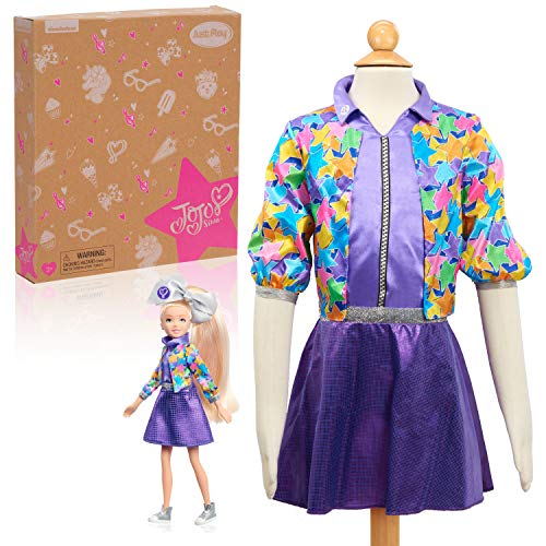 (Amazon) JoJo Siwa Fashion Doll and Dress Up Set, Size 4-6X, Kids Pretend Play Costume, Multi-Color, Amazon Exclusive by Just Play
