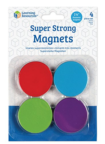 (Amazon) Learning Resources Super Strong Magnets, 4 Vibrant Colored Magnets, Hang on Whiteboards or Refrigerators