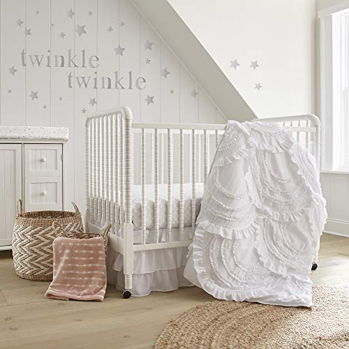 (Amazon) Levtex Baby – Skylar Crib Bed Set – Baby Nursery Set – White – Soft Cascading Ruffles – 4 Piece Set Includes Quilt, Fitted Sheet, Wall Decal & Crib Skirt/Dust Ruffle