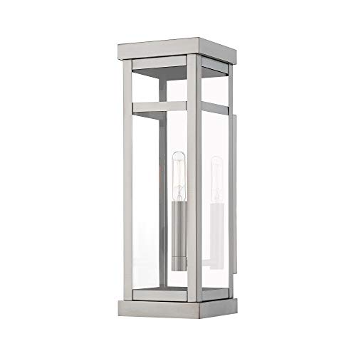 (Amazon) Livex Lighting 20703-91 Transitional One Light Outdoor Wall Lantern from Hopewell Collection in Pwt, Nckl, B/S, Slvr. Finish, Brushed Nickel