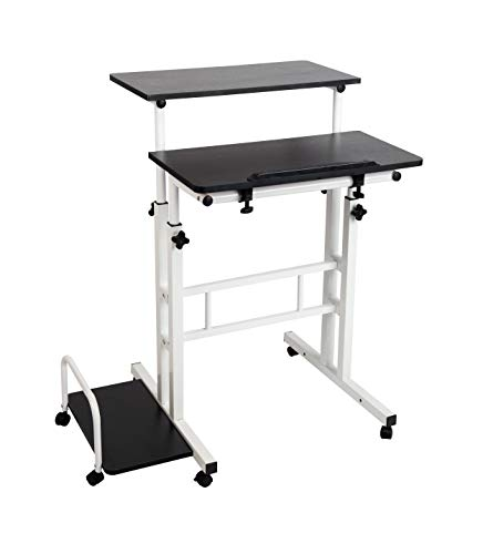 (Amazon) Mind Reader SDROLL-BKWH Mobile Sitting, Standing Desk Rolling Reversible Home Office Laptop Workstation with Side Storage, Locking Wheels, Large, Black/White