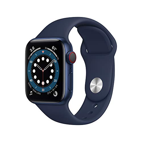 (Amazon) New AppleWatch Series 6 (GPS + Cellular, 40mm) – Blue Aluminum Case with Deep Navy Sport Band