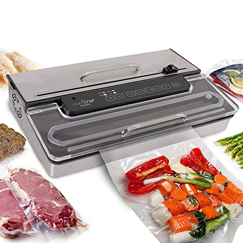 (Amazon) NutriChef PKVS50STS Commercial Grade Vacuum Sealer Machine-400W Automatic Double Piston Pump Air Machine Meat Packing Storage Preservation Sous Vide w/Dry Wet Seal, Vac Roll Bags, Extra Large, Silver