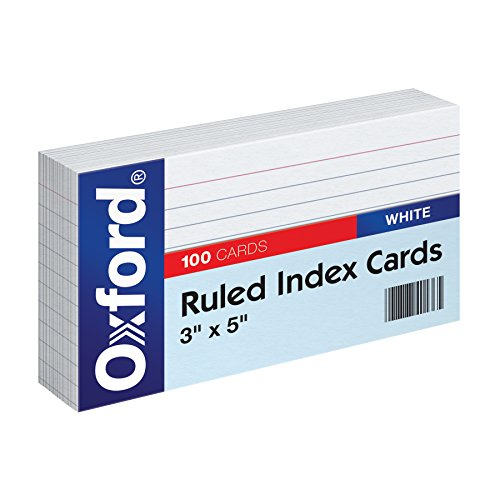(Amazon) Oxford Ruled Index Cards, 3″ x 5″, White, 100-Pack (31)