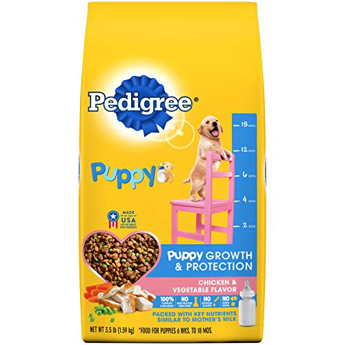 (Amazon) PEDIGREE Puppy Growth & Protection Dry Dog Food Chicken & Vegetable Flavor Dog Kibble, 3.5 Lb. Bag