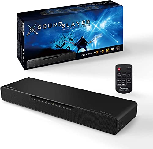 (Amazon) Panasonic SoundSlayer Gaming Soundbar, Dolby Atmos Gaming Speakers for PC and Home Theater, Built-in Subwoofer, Designed with Final Fantasy XIV Online Team for Breakthrough Sound – SC-HTB01PP (Black)