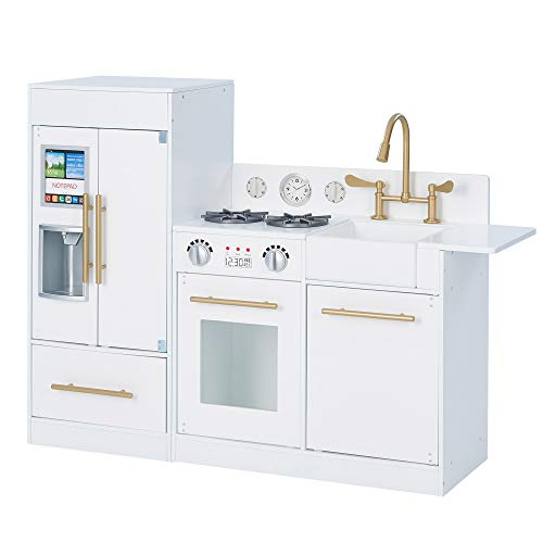 (Amazon) Teamson Kids Little Chef Chelsea Modern Play Kitchen Toddler Pretend 2 pcs Play Set with Accessories and Ice Maker White Gold