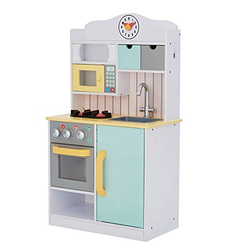 (Amazon) Teamson Kids Little Chef Florence Classic Kids Play Kitchen Toddler Pretend Play Set with Accessories, 2 Drawers, and Clock White Green Yellow