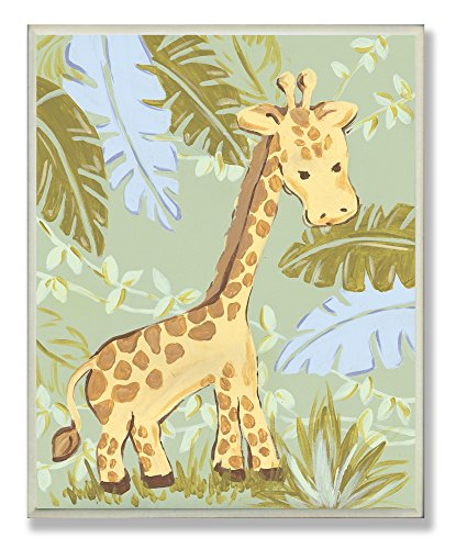 (Amazon) The Kids Room by Stupell Giraffe in The Jungle Rectangle Wall Plaque