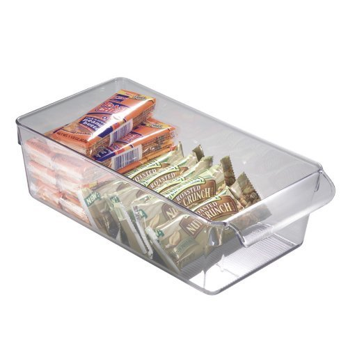 (Amazon) iDesign Linus Plastic Fridge and Freezer Storage Organizer Bin with Handle, Clear Container for Food, Drinks, Produce Organization, BPA-Free, 11.5″ x 6″ x 3.5″, Clear