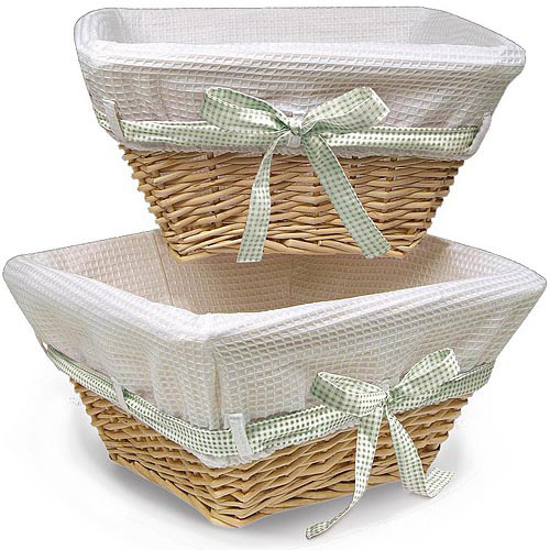 Badger Basket Natural Wicker Nursery Baskets with White Liners, 2pk (Walmart)