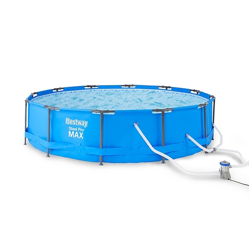 Bestway – Frame Above Ground Swimming Pool Set with Pump – Blue (Best Buy)