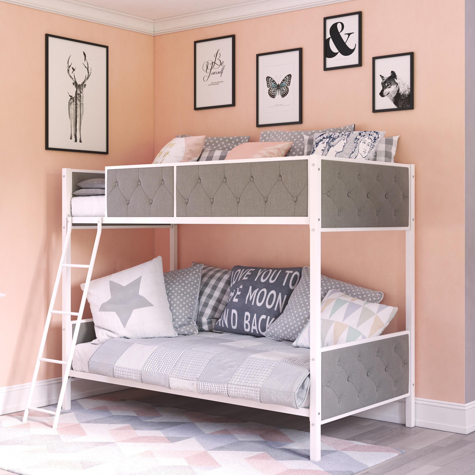 Chesterfield Upholstered Bunk Bed, White Metal with Grey Linen (Walmart)