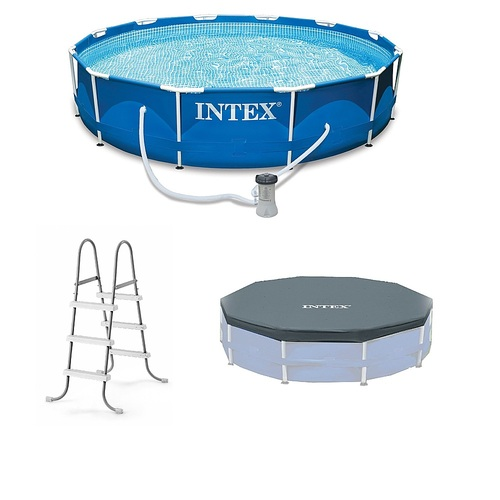 """Intex – 12'x30″ Swimming Pool w/ Pump, Pool Ladder for 42"""" Wall, & 12' Cover – Blue (Best Buy)"""