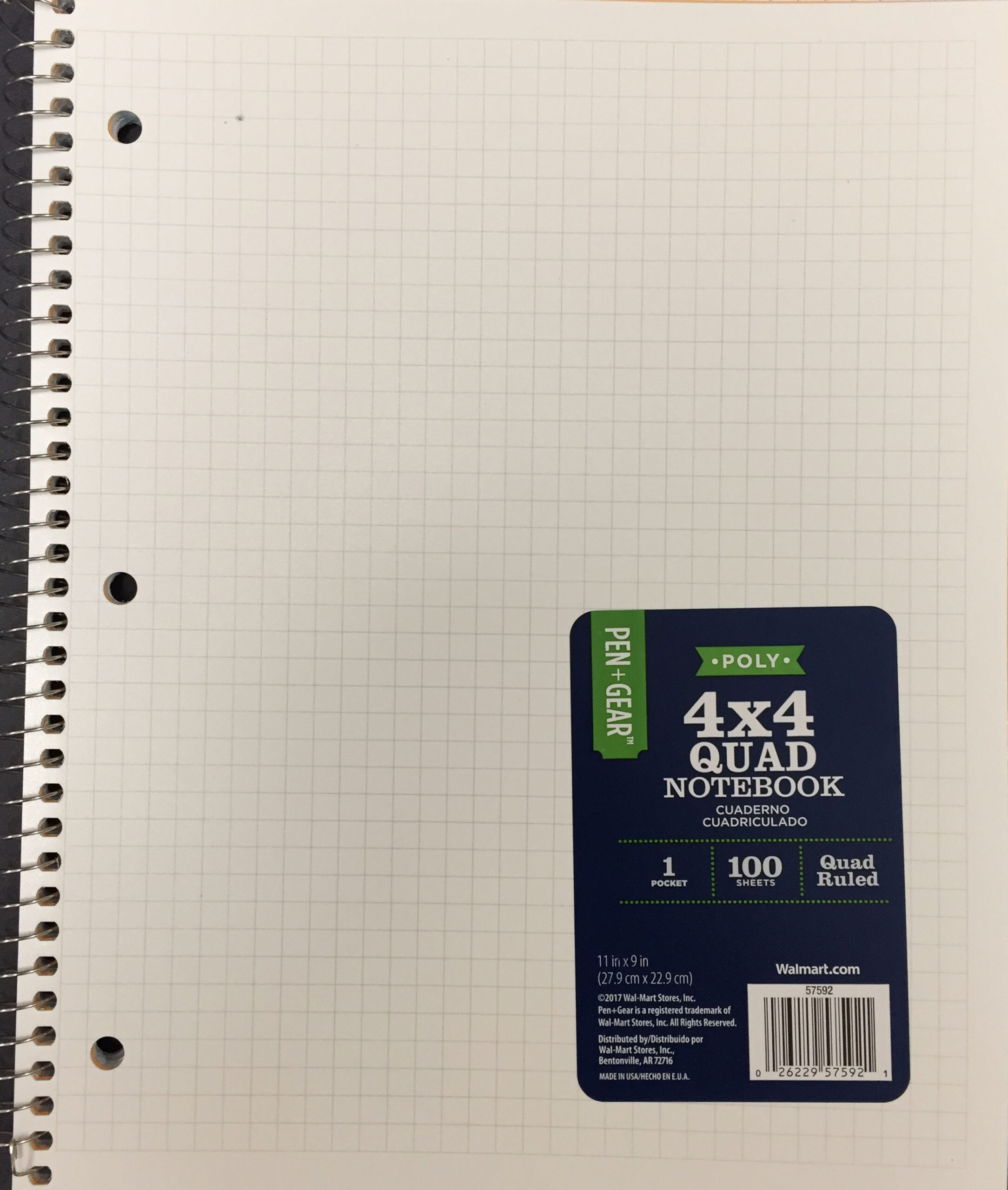 Pen + Gear Spiral Notebook, Graph Ruled, 1 Subject, 100 Pages, 9″ x 11″, Color Choice Will Vary, 57592 (Walmart)