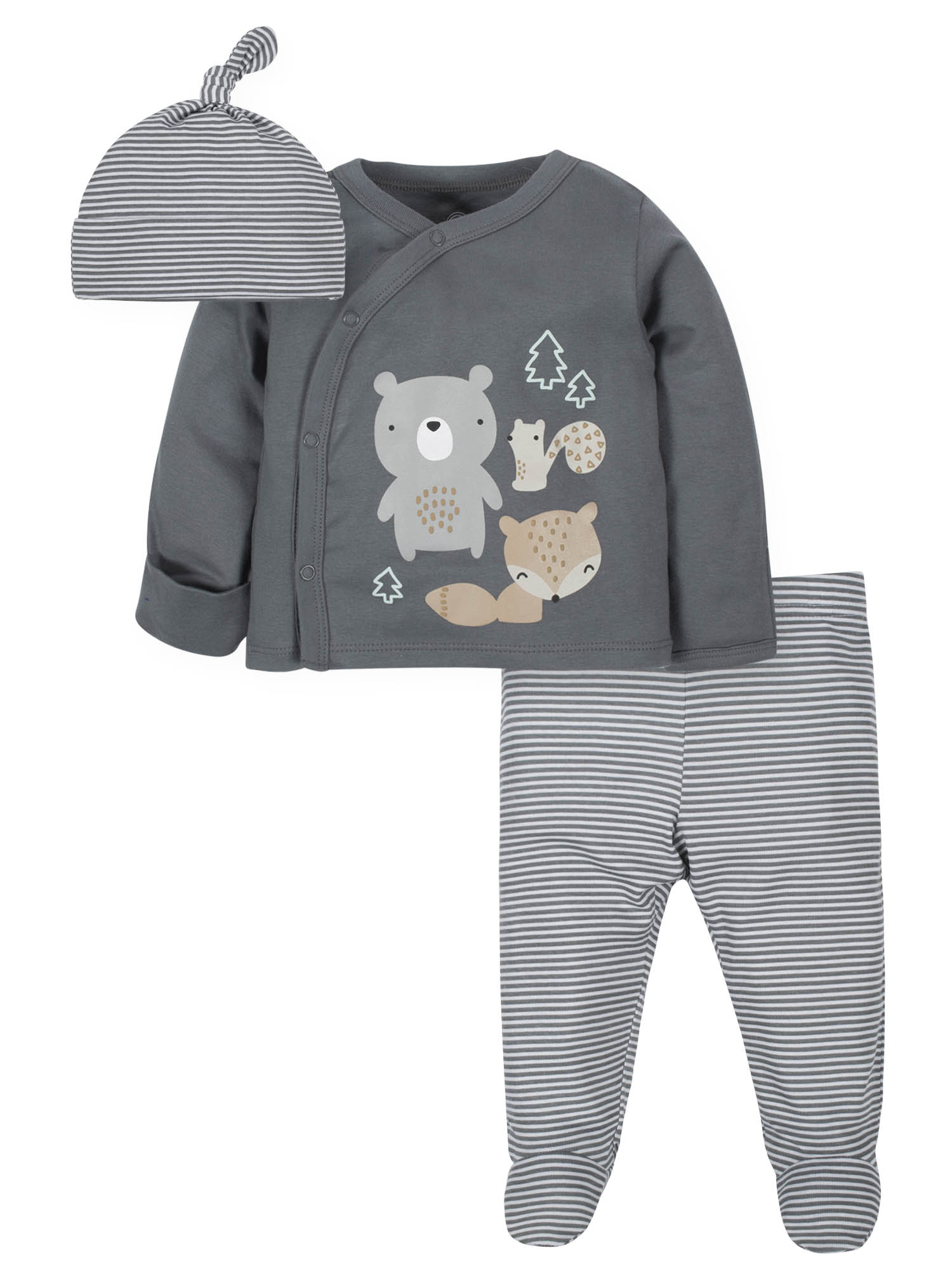 Wonder Nation Baby Boy Outfit Take Me Home Shirt, Cap & Footed Pants, 3-Piece (Walmart)