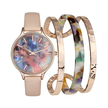 INC International Concepts Women's Pink Leather Strap Watch for $17.83