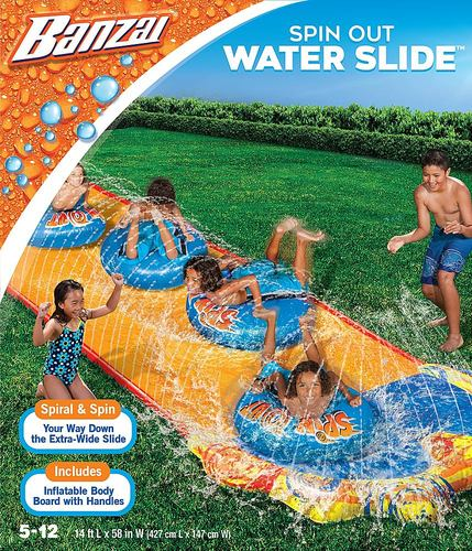 Banzai – Spin Out Extra Wide Inflatable Outdoor Water Slide (Best Buy)