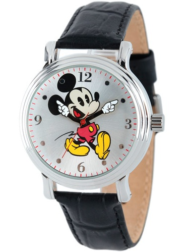 Mickey Mouse Women's Shinny Silver Vintage Articulating Alloy Case Watch, Black Leather Strap (Walmart)