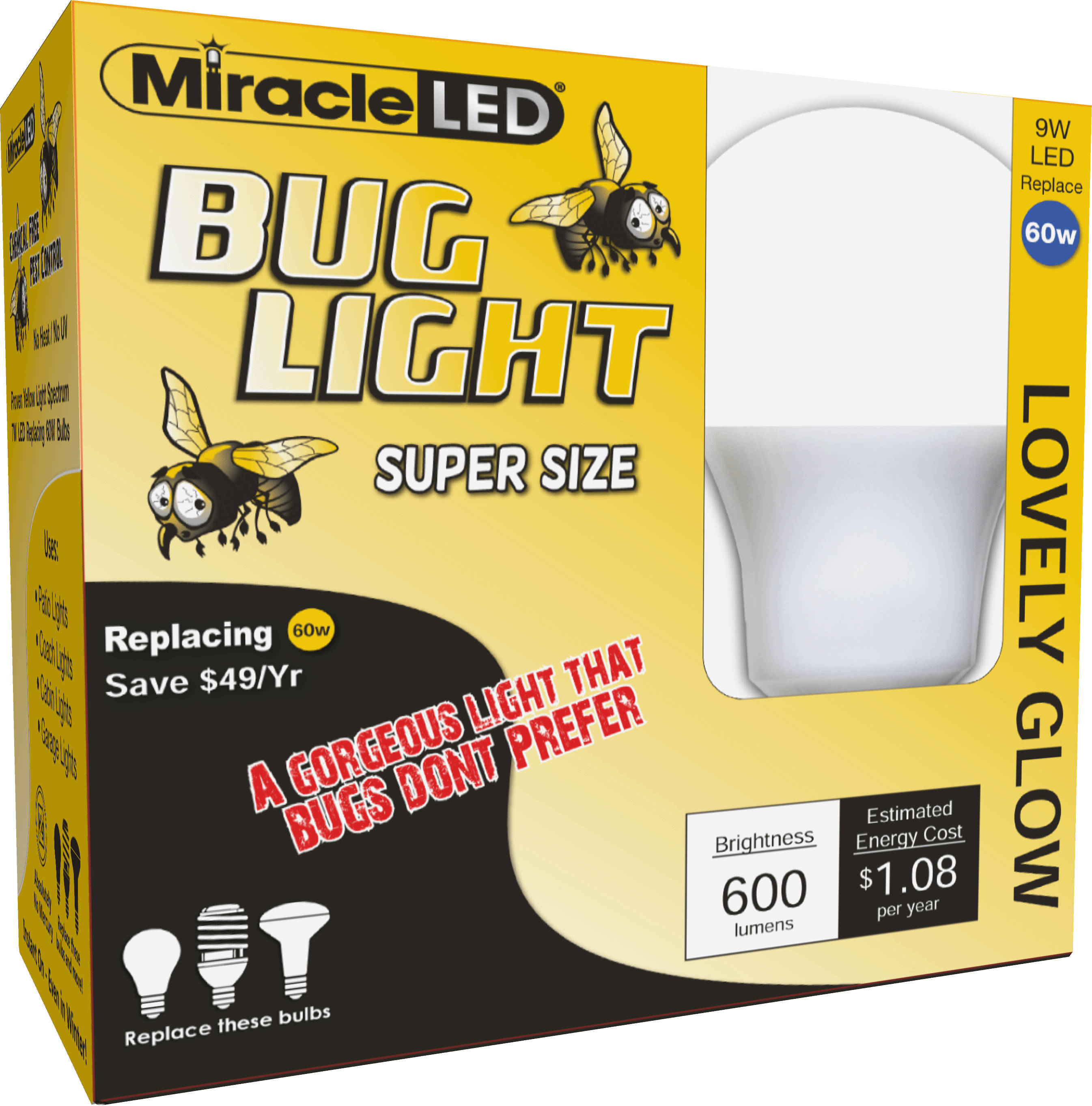 Miracle LED Lovely Glow Amber LED Outdoor Bug Light Replace 60W 2-Pack (Walmart)
