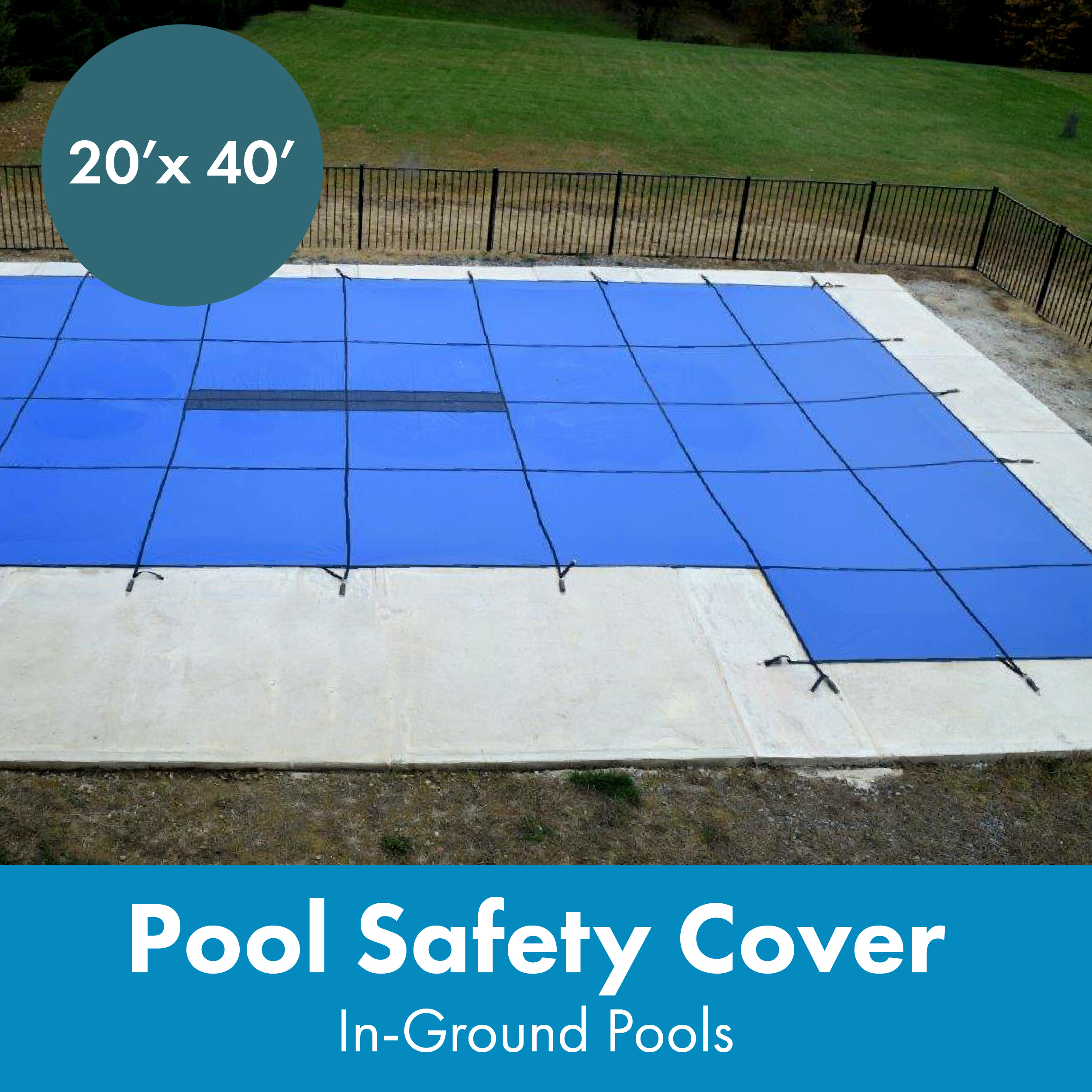 WaterWarden Inground Pool Safety Cover, Fits 20' x 40', Solid Blue, Center Drain Panel, Right Step (Walmart)