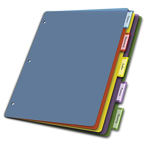 (Amazon) Cardinal Plastic Binder Dividers without Pockets, 5-Tab, Insertable Multicolor Tabs, Letter Size,1 Set (84018), Assorted