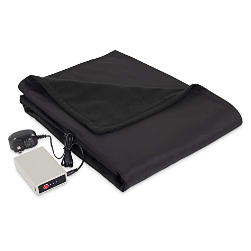 (Amazon) Eddie Bauer | Portable Heated Electric Throw Blanket-Rechargeable Lithium Battery with USB Port-Water Resistant Weather Smart Fleece for Travel, Camping, and Outdoor Use, Black/Black