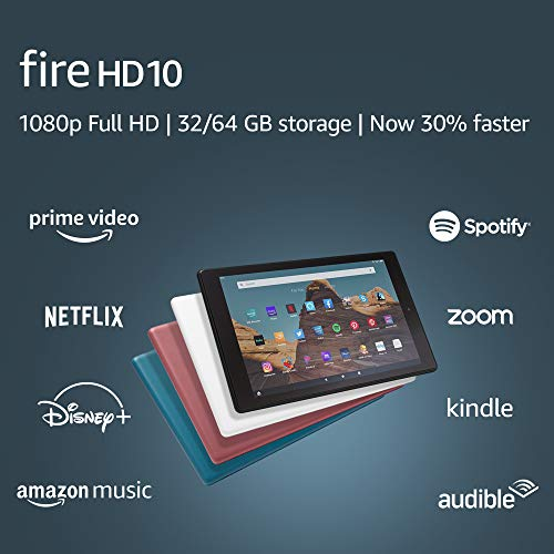 (Amazon) Fire HD 10 Tablet (10.1″ 1080p full HD display, 32 GB) – White (2019 Release)