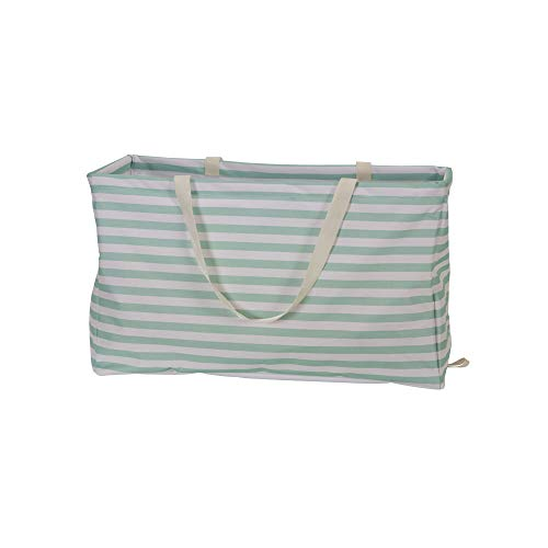 (Amazon) Household Essentials 2242 Krush Canvas Utility Tote | Reusable Grocery Shopping Laundry Carry Bag | Teal And White Stripes, 22″ L X 11″ W X 13″ H,